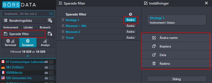 Sparade filter